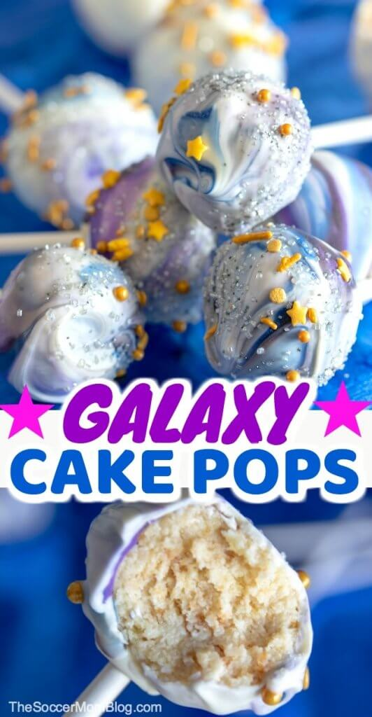 Swirling stars and vibrant colors make these Galaxy Cake Pops a wow-worthy party treat! Perfect for space or Star Wars themed parties and birthdays. Click for step-by-step photo tutorial to learn how to get the tie-dye look! Click for video tutorial - it's easy!