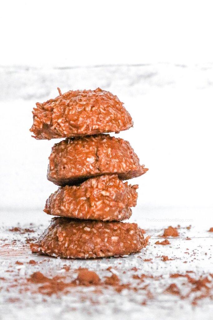 a stack of keto non bake cookies