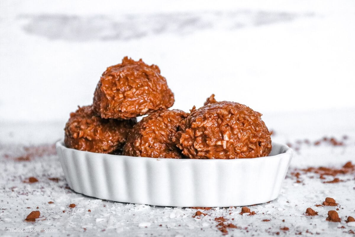 a bowl full of chocolate keto haystack cookies