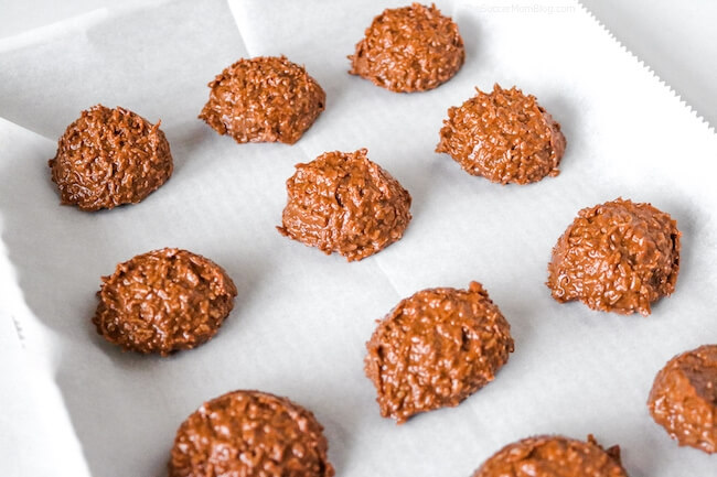 no bake cookie batter on cookie sheet