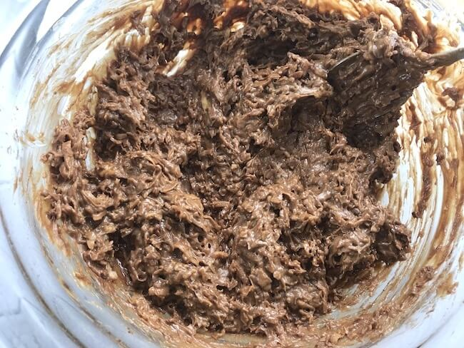 Chocolate keto cookie batter in mixing bowl