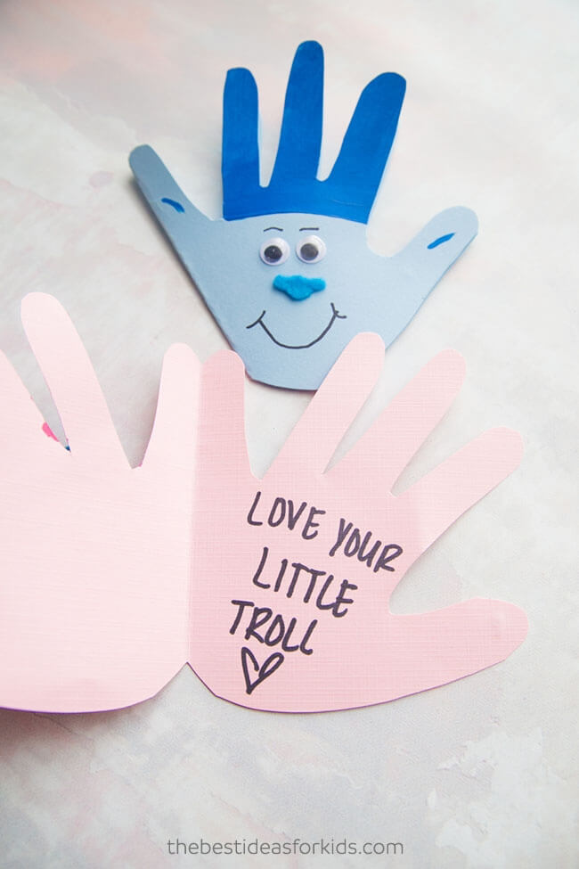 Trolls handprint card for mom