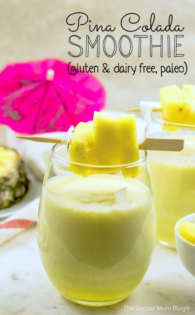 Loaded with healthy fats, protein, vitamins, and minerals — this Paleo Pina Colada Smoothie is a creamy and delicious way to start the day and provides lasting energy.
