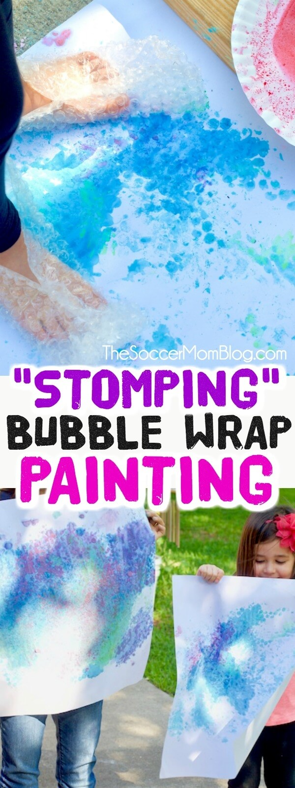 Get active and create vibrant art at the same time with this stomping bubble wrap painting!