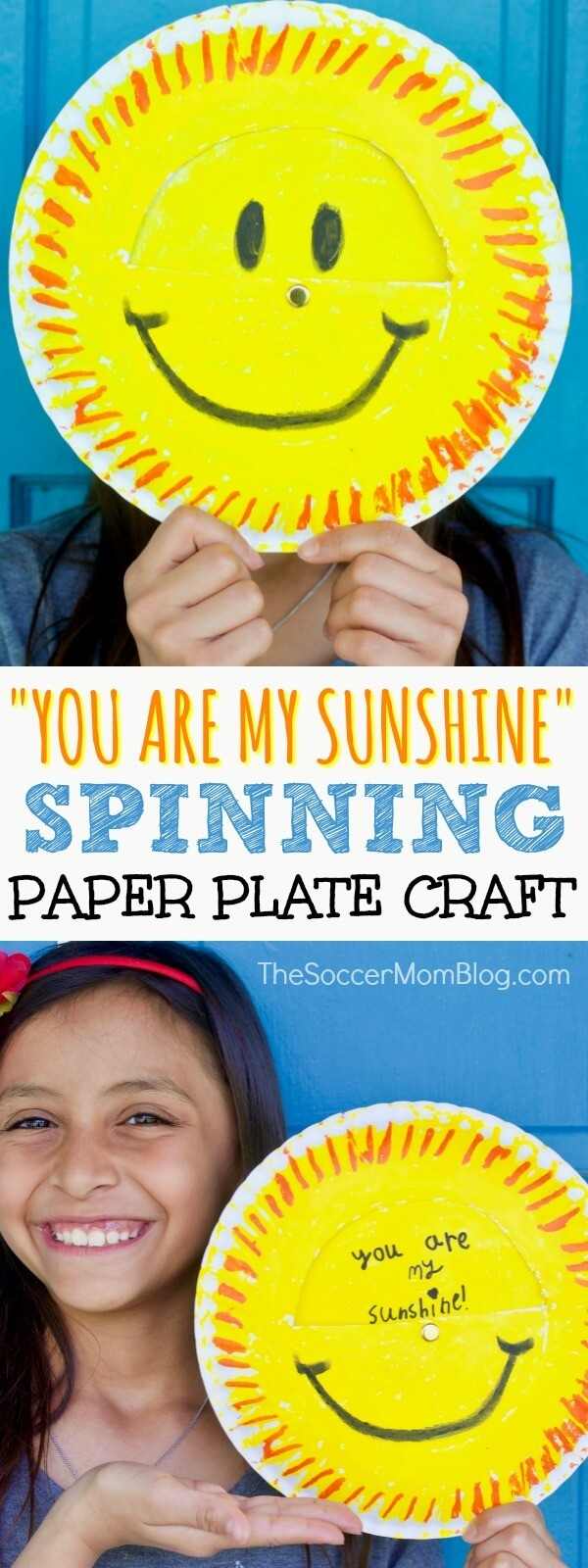 "A spinning surprise! Kids can make this ""You Are My Sunshine"" paper plate craft for Mother's Day, birthdays, or any occasion!"