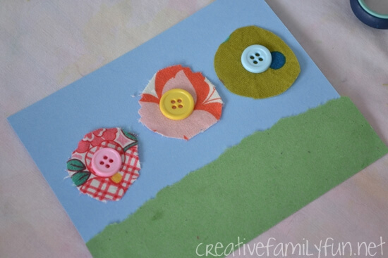 homemade mothers day cards using buttons and fabric
