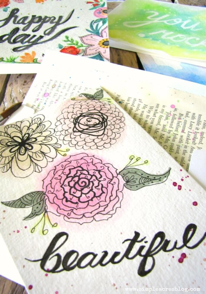 watercolor mothers day card ideas