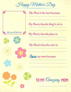 printable Mother's Day card idea