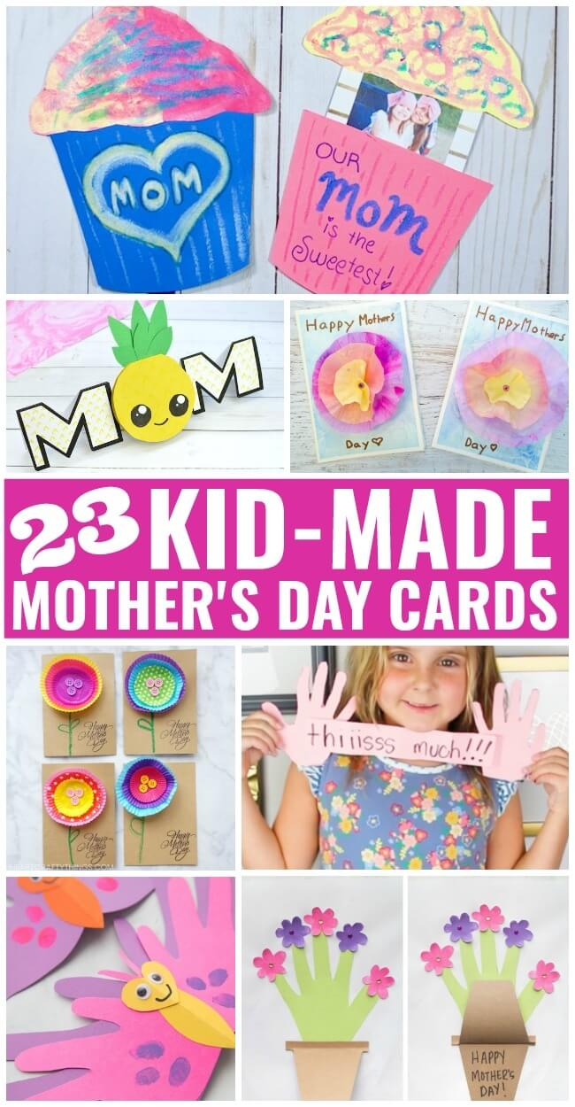 A collection of the cutest homemade Mothers Day cards for kids to make! Click for photos and Mother's Day card ideas to get started!