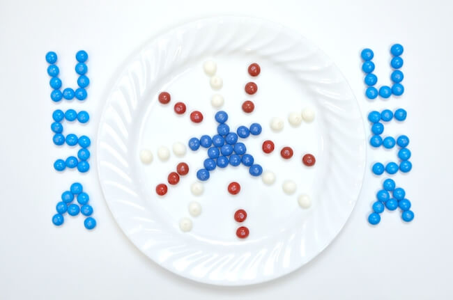 4th of July Skittles science experiment for kids