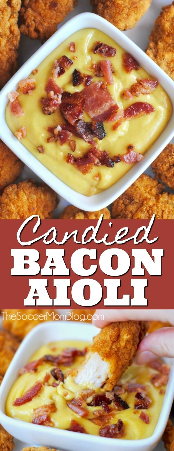 Candied Bacon Aioli is the perfect dipping partner for all of your game-day party appetizers!