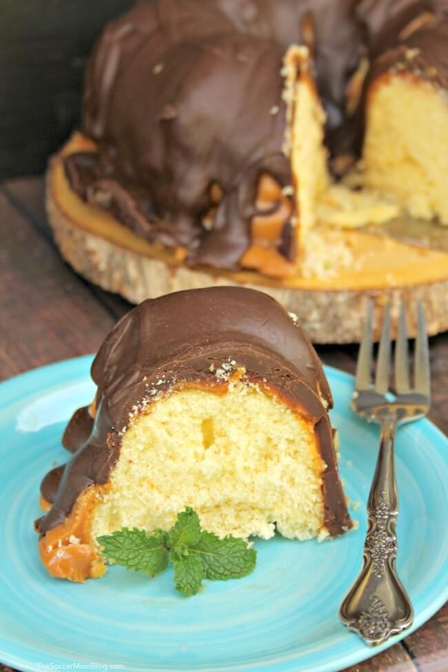 This easy Twix Cake tastes just like the classic candy bar!
