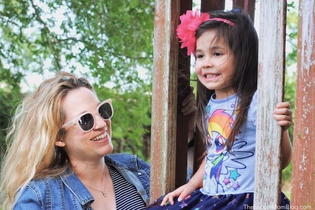 "Mom & daughter on playground (mom is wearing Muse x Hilary Duff ""Stevie"" in Pink sunglasses)"