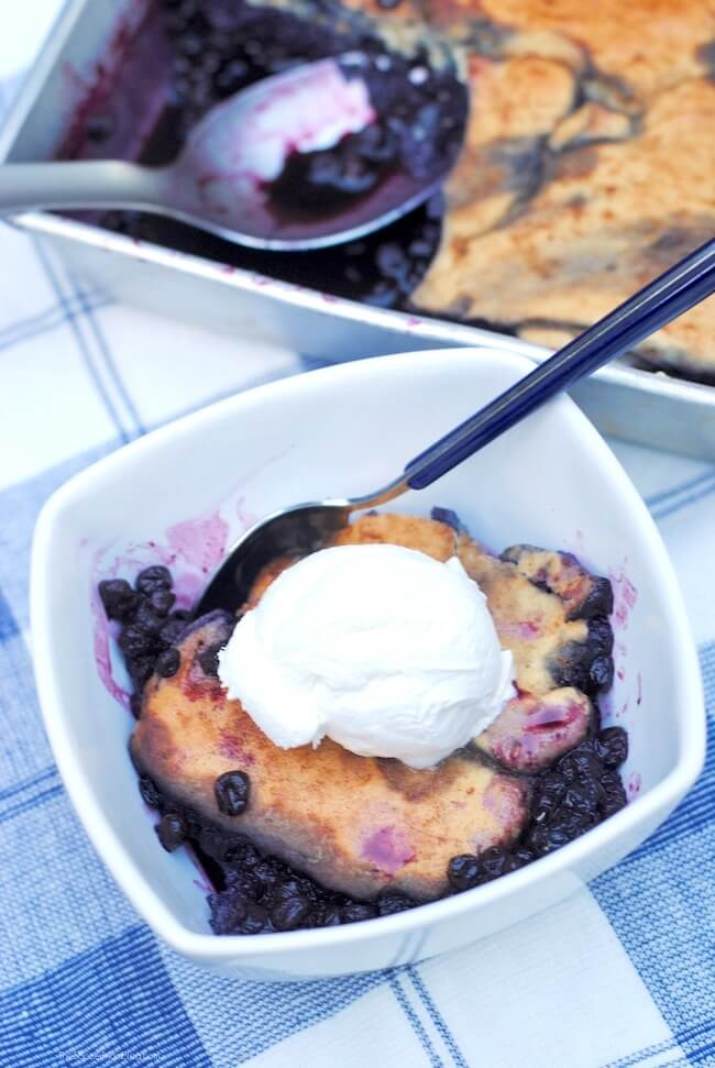 Our favorite family recipe! This fluffy cake-style gluten free blueberry cobbler is a guilt-free version of the classic summer dessert!