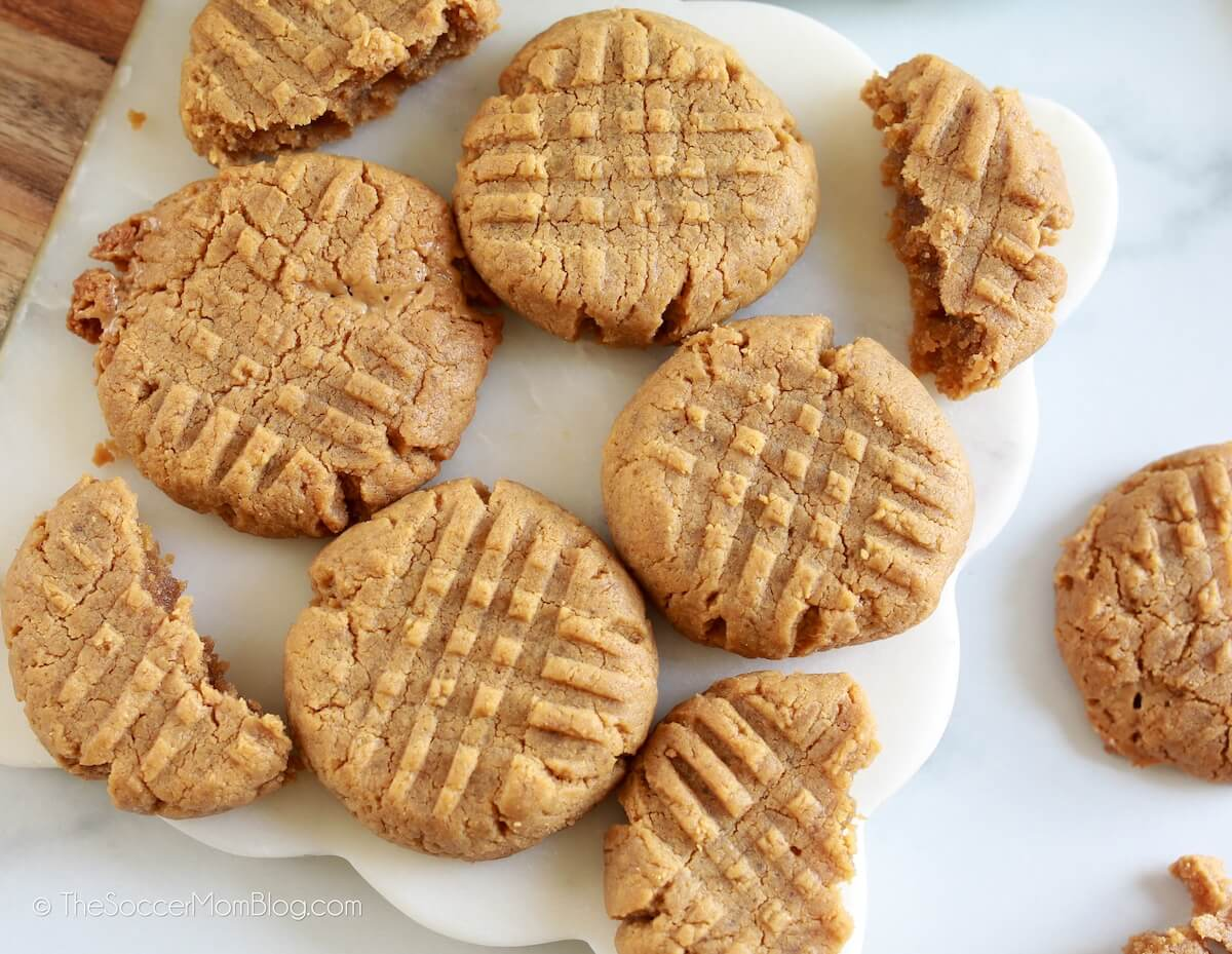plate of freshly baked keto peanut butter cookies