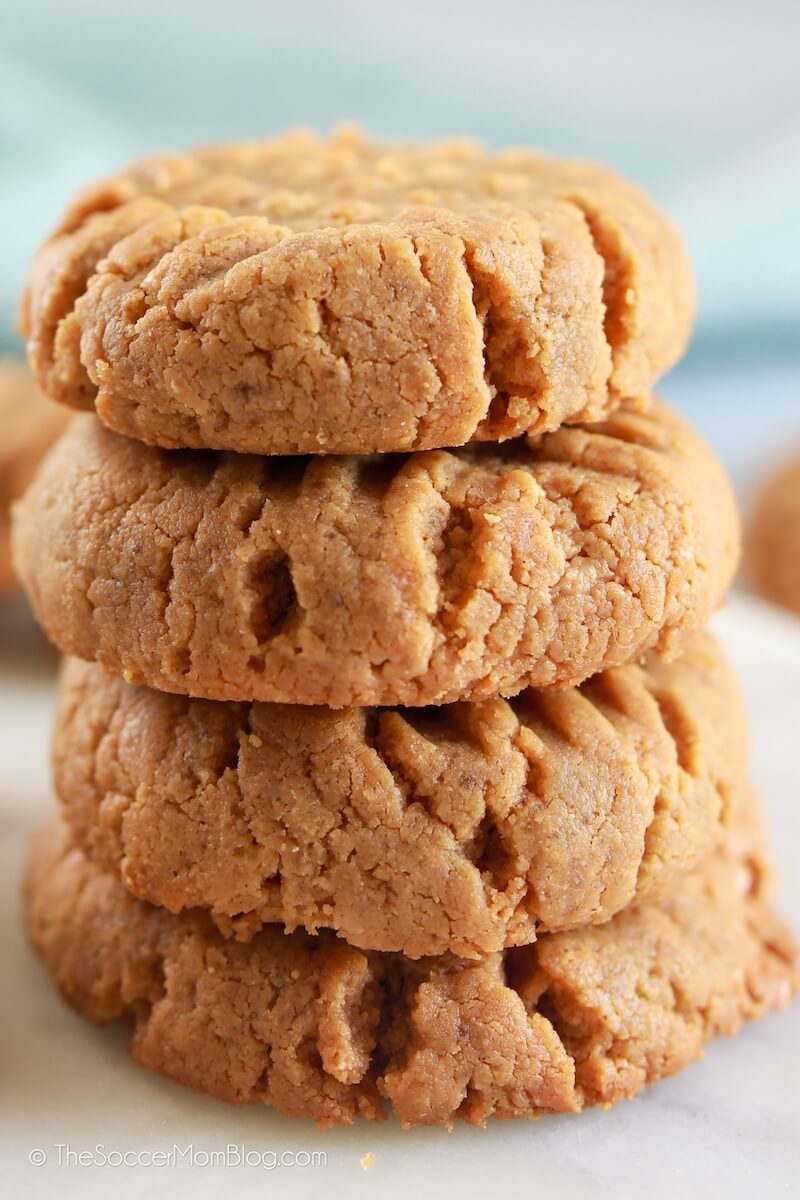 stack of thick and chewy keto peanut butter cookies