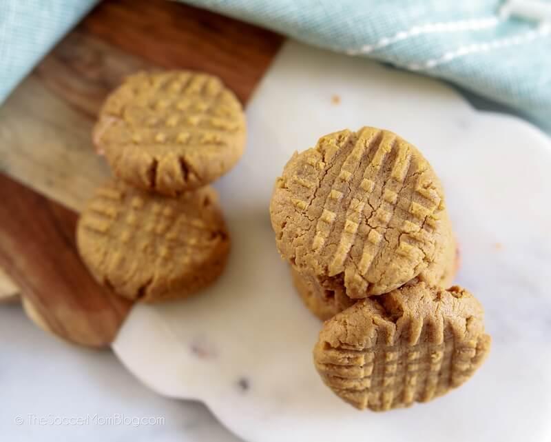 keto peanut butter cookies on cutting board