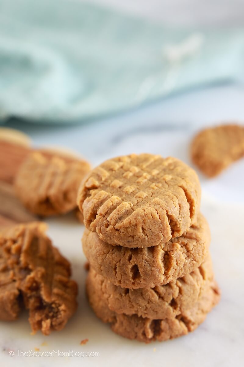 stack of peanut butter cookies on marble counter
