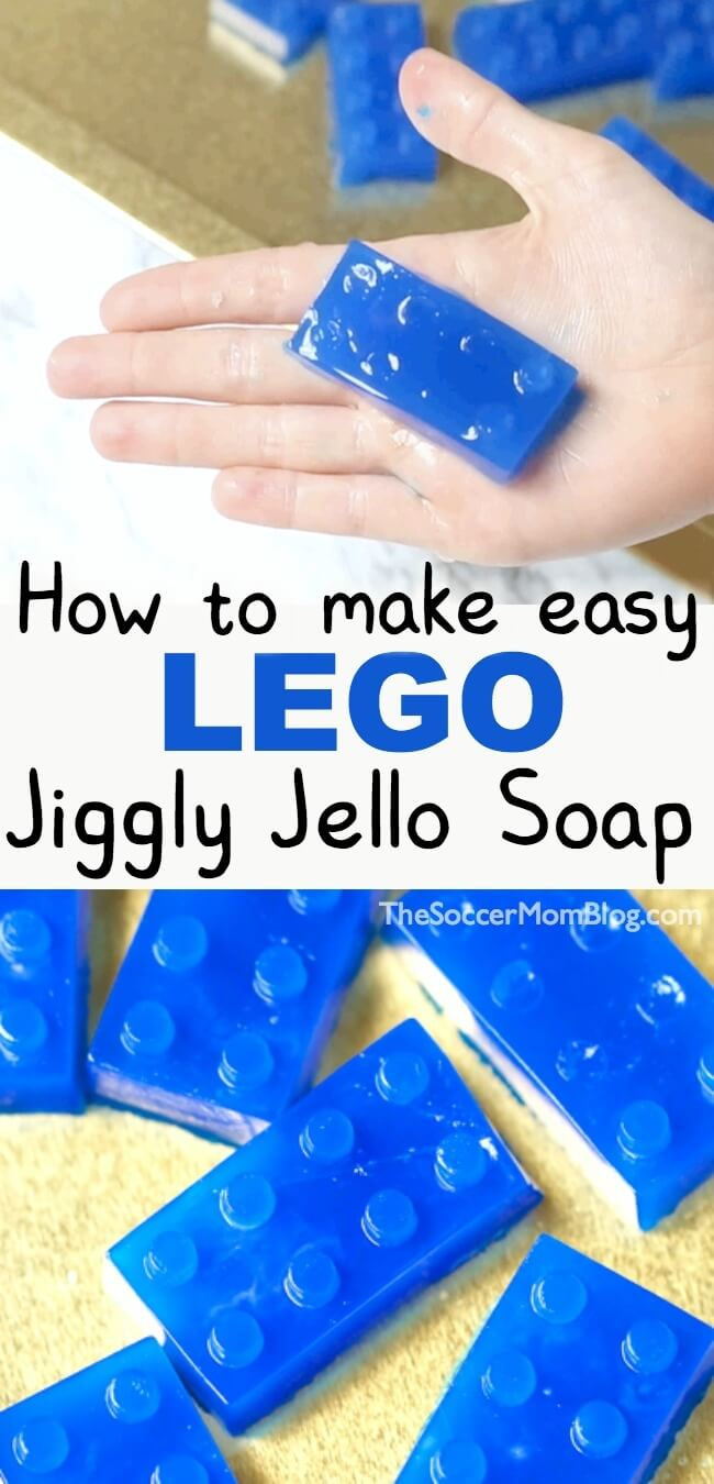 Squishy bath time fun you can make easily at home! Kids will LOVE this homemade jelly soap shaped like LEGO bricks!