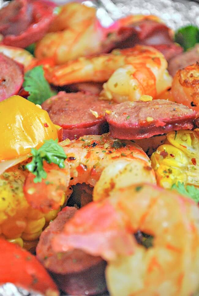 close up of cajun shrimp boil in foil