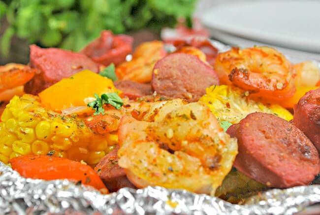 cajun shrimp foil packets with sausage