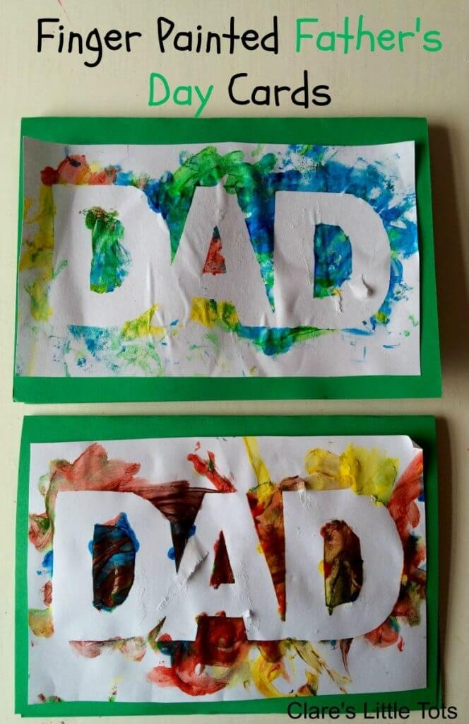 finger painted Father's Day Card ideas