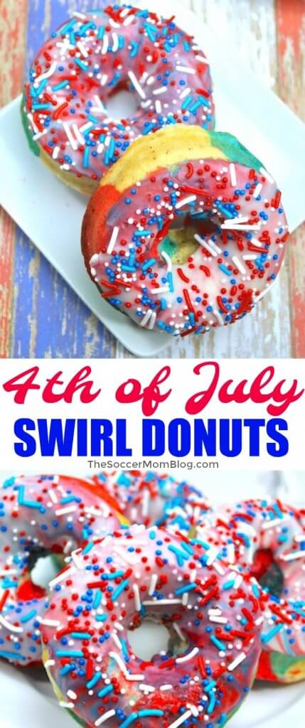 It's doesn't get more patriotic than this! Bright red white & blue swirl donuts are perfect party dessert for the 4th of July!
