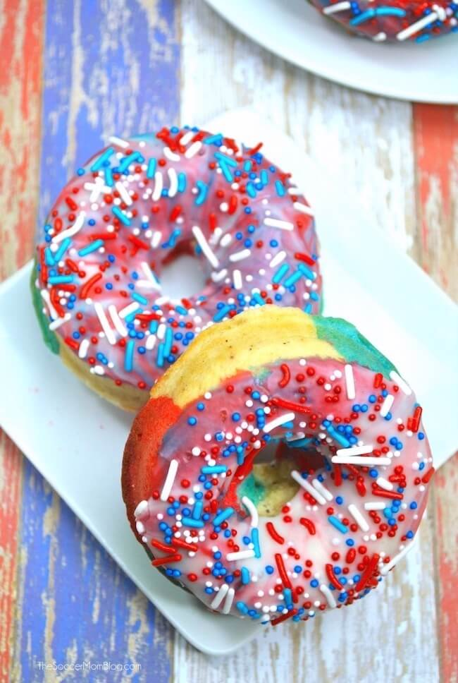 It doesn't get more patriotic than this!Red White & Blue Swirl Donuts are a true all-American treat! Perfect 4th of July party dessert! Step-by-step photo instructions inside.