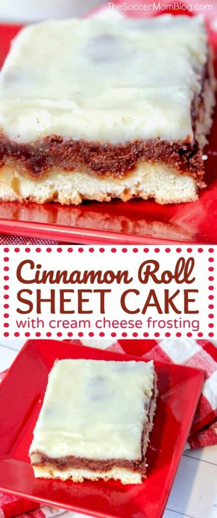 If you love cinnamon rolls then you've GOT to try this decadent Cinnamon Roll Cake topped with a layer of luscious cream cheese frosting! #cake #cinnamon #dessert #recipe
