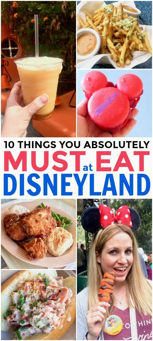 The 10 things you MUST eat at Disneyland and California Adventure Parks. Photos, descriptions, locations, and insider tips for an awesome Disney food tour!