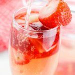 A fresh update on a traditional brunch cocktail, this Strawberry Shortcake Bellini is perfectly pretty and oh-so-refreshing!