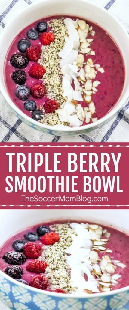 A vibrant blend of three berries and protein-rich ingredients, this Triple Berry Smoothie Bowl is a nutritional powerhouse! #glutenfree #dairyfree #healthyrecipe #smoothie
