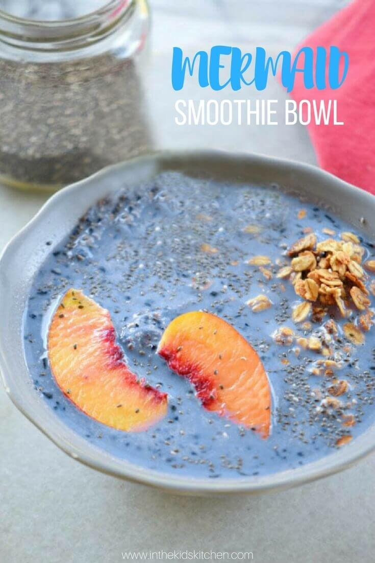 Mermaid smoothie bowl with blueberries and peaches