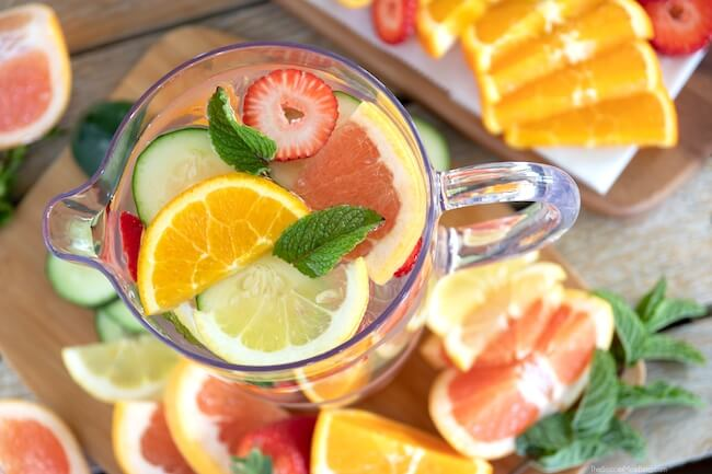 fruit infused water in pitcher