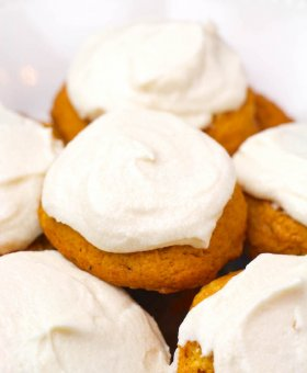 Fluffy Pumpkin Cookies w/ Cream Cheese Frosting