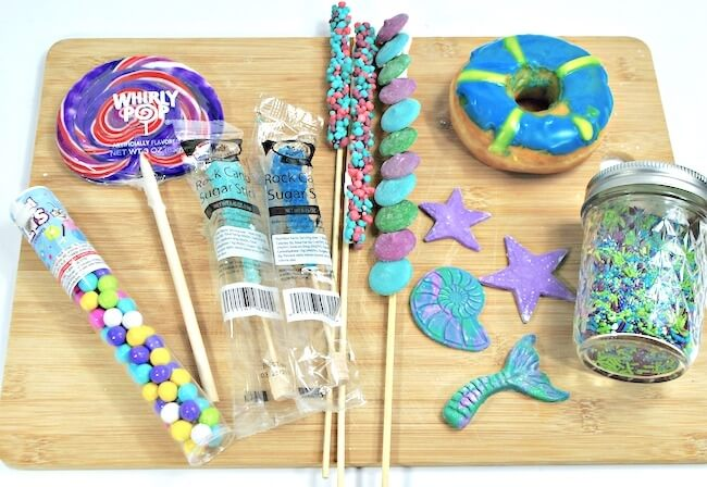 Mermaid freakshake ingredients displayed on cutting board