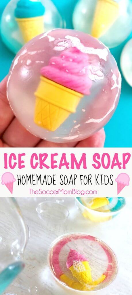 Make bath time a treat with this colorful homemade ice cream soap for kids! Click for photo step-by-step instructions to make easy DIY glycerine soaps.
