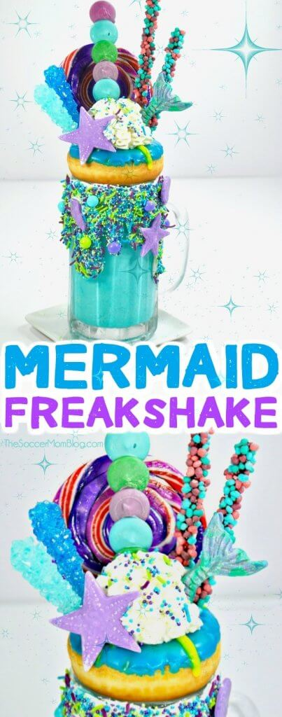 WOW!! The perfect treat for your Ariel fan - this Mermaid Freakshake is a show-stopping mashup of milkshake and dessert!!