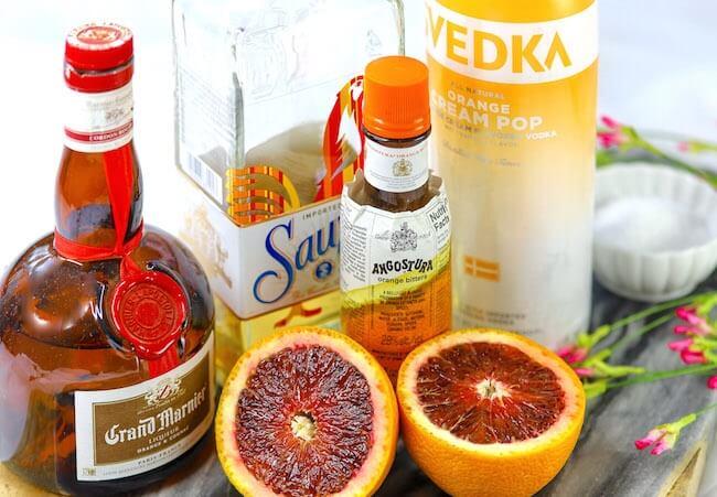 ingredients to make blood orange margaritas