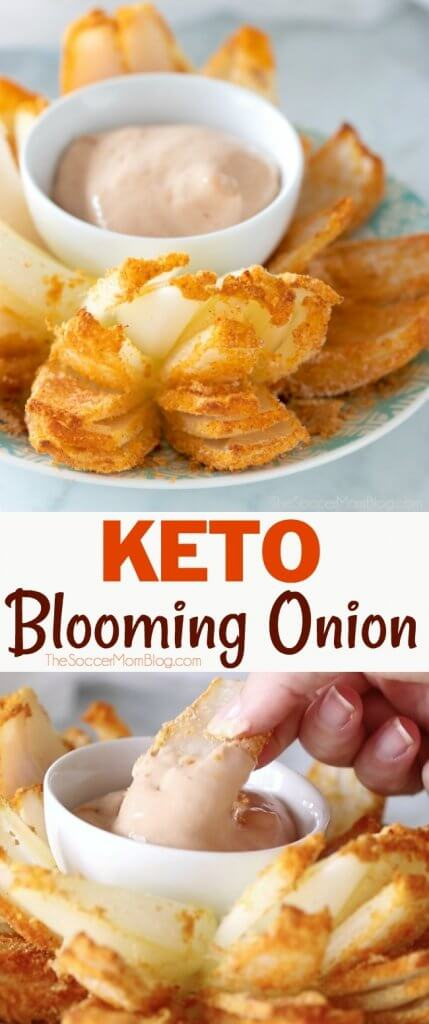 A low carb and low calorie version of the steakhouse classic — this Keto Blooming Onion is a guilt-free indulgence! Paleo & gluten free too! Click for video.