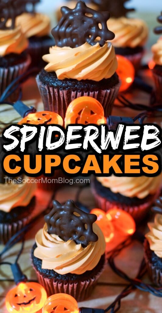 How to make easy spider cupcakes and chocolate spider web cupcake toppers for Halloween