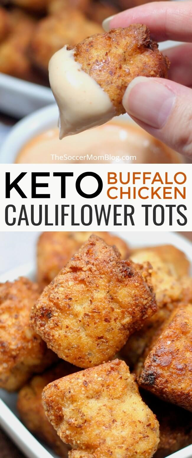 Crispy, cheesy, and totally crave-able! They taste so good you'd hardly believe these Buffalo Chicken Keto Cauliflower Tots are guilt-free!