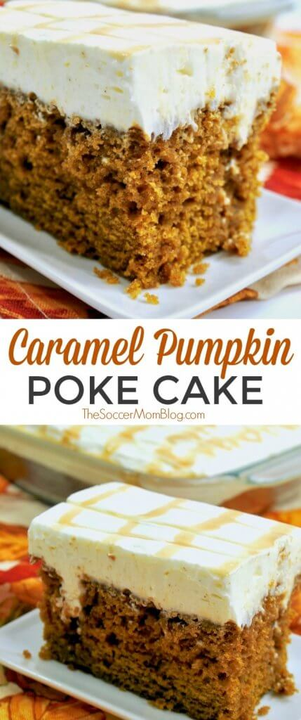 This dreamy pumpkin poke cake is soaked with rich caramel and topped with a fluffy whipped cream cheese frosting.