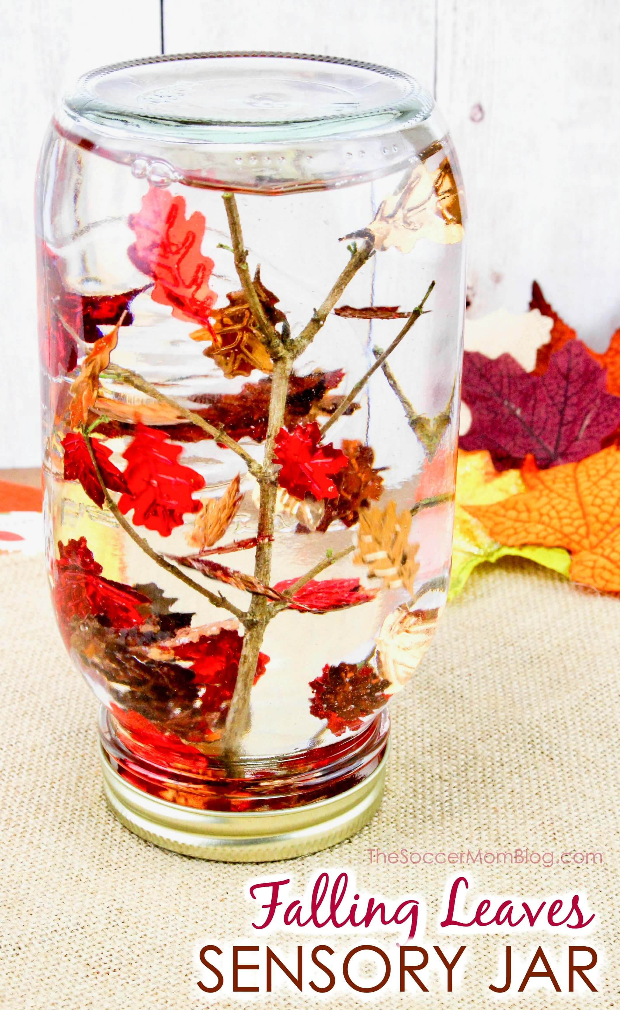 Mix with a spoon then add a bunch of the confetti to the jar. Swirl around with a spoon and if the confetti immediately sinks to the bottom then add a bit more glycerin. The glycerin is what makes the leaves fall slowly.