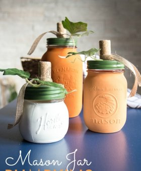 DIY Painted Mason Jar Pumpkins (with Video)