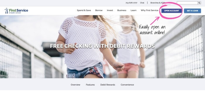 How to open a free checking account online with First Service Credit Union