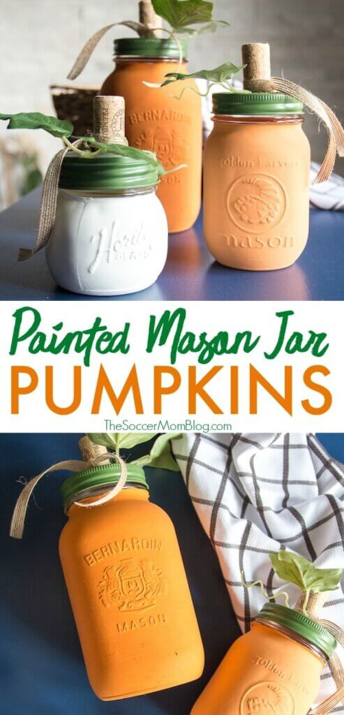 These DIY Pumpkin Mason Jars are gorgeous country chic fall decor and so easy to make! You'll use them year after year! Click for video tutorial.