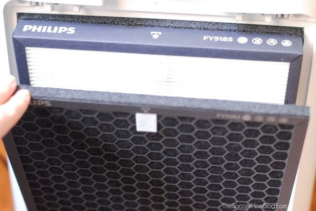 Close up of filters on Philips Series 5000i Air Purifier.
