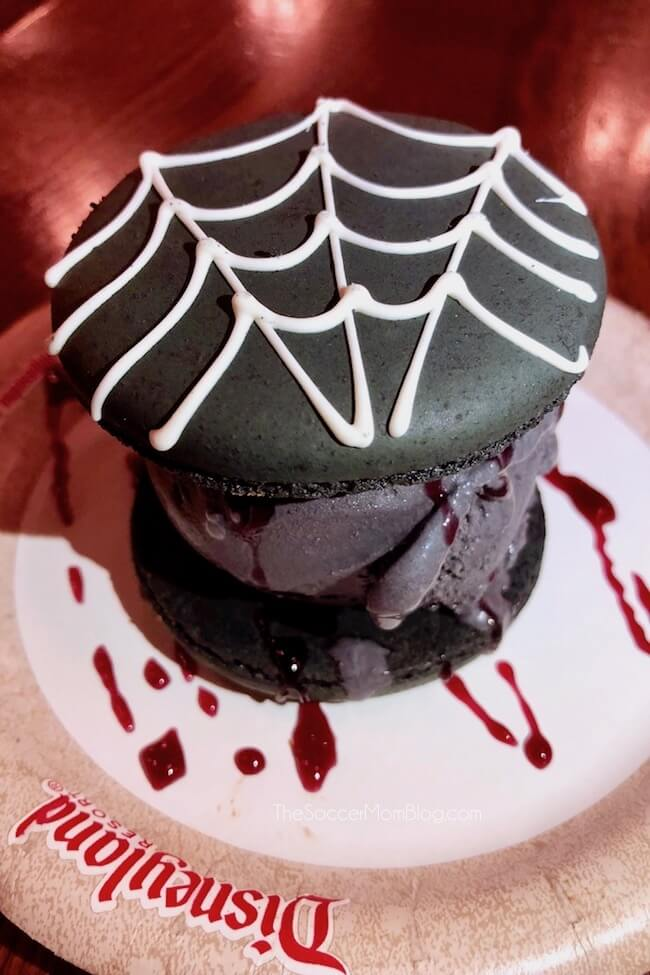 Spider Silk Macaron Sandwich at HalloweenTime in California Adventure Park