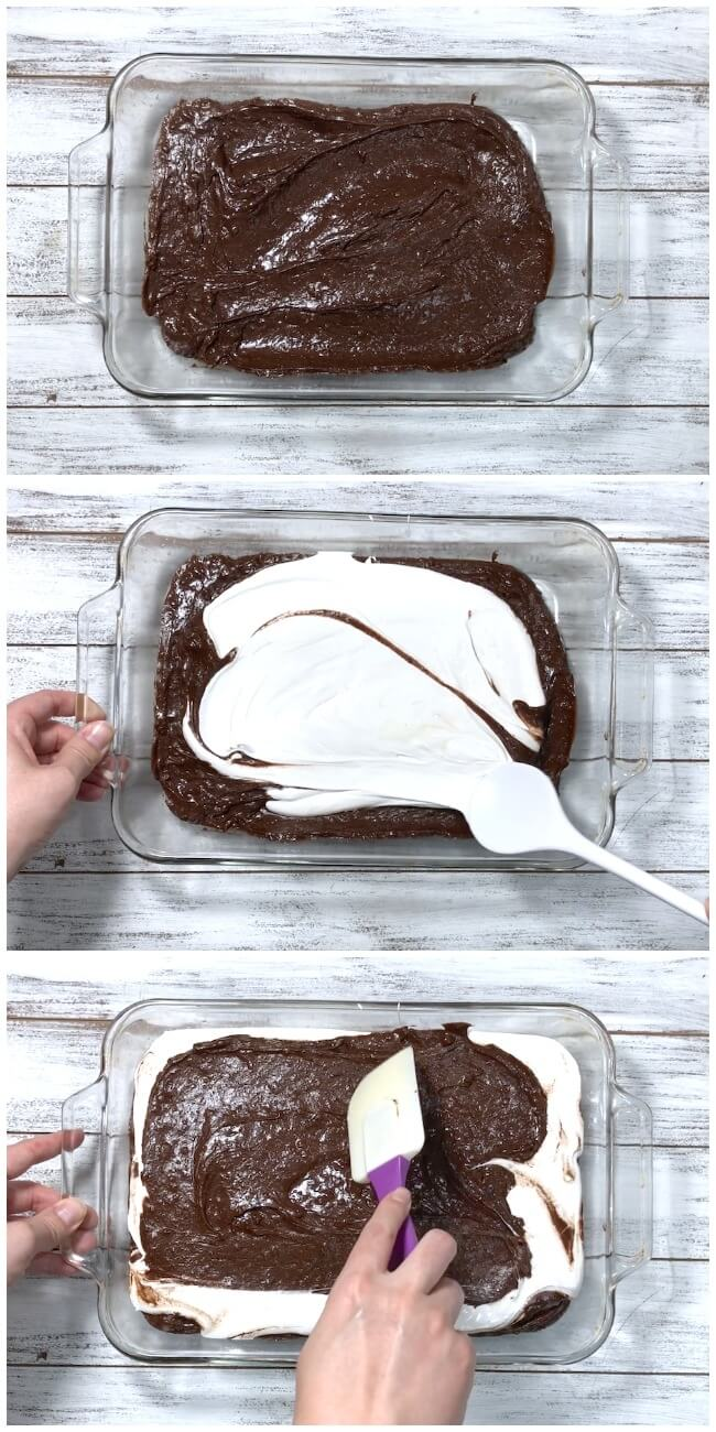 How to make a marshmallow brownie earthquake cake